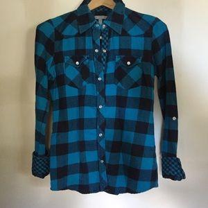 Blue and black Delia*s flannel